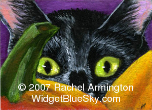 Hand-Made paintings by nature artist Rachel - Black Cat Peeking over Pumpkins