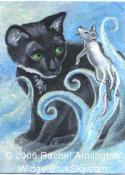 One of a Kind Painting by pet artist Rachel - Ghost Mouse and Black Cat