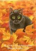Original Painting by cat artist Rachel - Marina Black Cat in Autumn Leaves