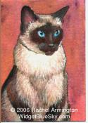 Unique Painting by animal artist Rachel - Dad's Seal Point Siamese