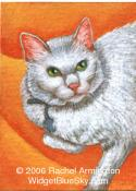 Hand-Made Painting by nature artist Rachel - White Cat